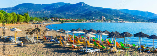 Greek summer hollidays -Lesvos island , Petra village, popular tourist resort. Greece