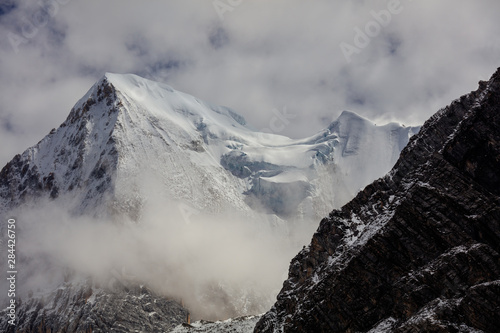 Vászonkép  Snow Mountain, Massive Glacier, Wall of Ice, Mountain Cliff Face covered in ice,