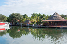 Placencia, Belize. Roberts Grove Resort Marina With Master Dive Boat, Restaurant, Protected Harbor.