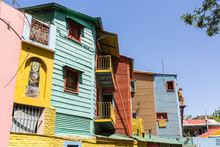 Argentina, Buenos Aires. Colorfully Painted Houses In La Boca Neighborhood.