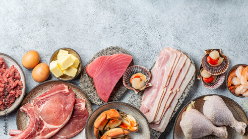 Valokuvatapetti Selection food for CARNIVORE DIET