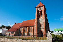Falkland Islands. Stanley. Christ Church Cathedral And Whalebone Sculpture.