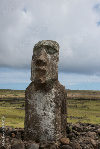 Foto op Plexiglas Historisch mon. Chile, Easter Island, Hanga Nui. Rapa Nui National Park, Ahu Tongariki (aka Tonariki). Largest ceremonial platform in all of Polynesia. The 'traveler' moai at park entry. UNESCO