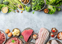 KETOGENIC DIET LOW CARB CONCEPT. Vegetarian And Animal Protein, Carb And Fat Sources. Healthy Food Background With Copy Space