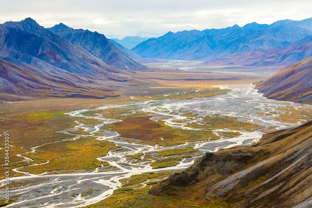 USA, Alaska, Brooks Range, Arctic National Wildlife Refuge. Aerial with mountains and Ivishak River. Credit as: Don Paulson / Jaynes Gallery / DanitaDelimont.com