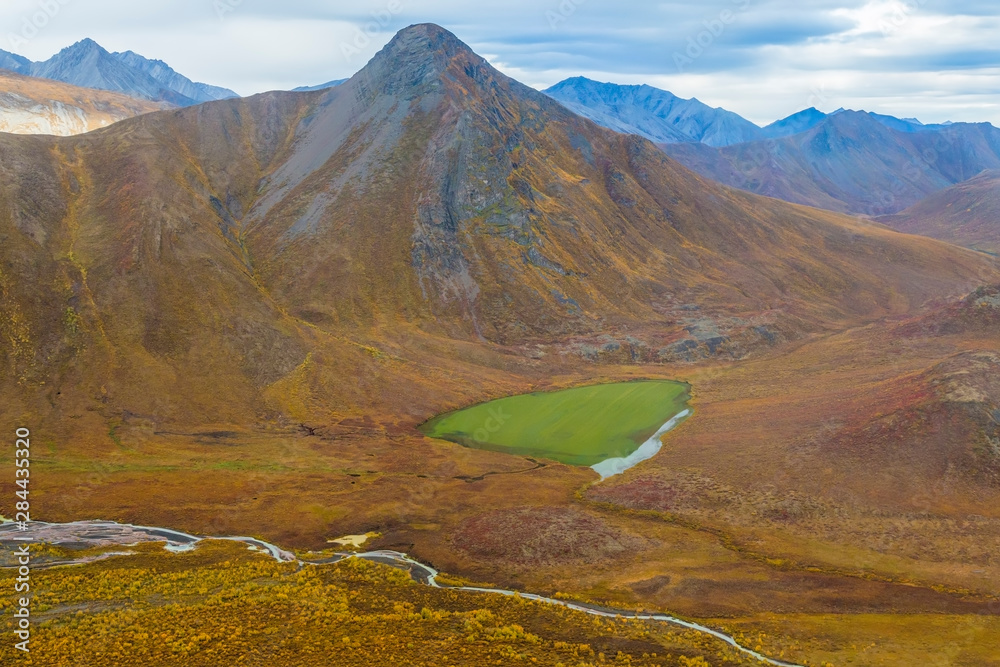 USA, Alaska, Brooks Range, Arctic National Wildlife Refuge. Aerial of mountains and river. Credit as: Don Paulson / Jaynes Gallery / DanitaDelimont.com