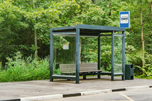 Empty Bus Stop In The Summer F...