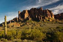 Sunset, Flat Iron Mountain, Lost Dutchman State Park, Apache Junction, Arizona, USA