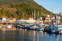 US, Alaska, Ketchikan. Thomas Boat Basin And Creek Street. Tlingits Named Area Ketchikan And Used As Fish Camp