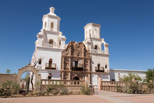 USA, Arizona, O'odham San Xavier Indian Reservation. Front Of San Xavier Del Bac Mission.