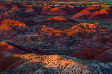 The Fiery Red Painted Desert From Lacey Point In Petrified Forest National Park, Arizona.