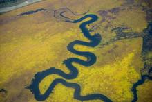 Aerial Of Tlikakita River, Lake Clark National Park And Preserve, Katmai, Alaska, USA.