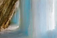USA, Colorado, Rifle Mountain Park. Ice Pillar In Limestone Cave.
