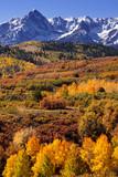 USA, Colorado, San Juan Mountains. Mountain and valley landscape in autumn.