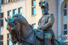 Monument Of King Edward VII By The Merseyside In Liverpool, UK