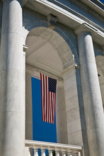 USA, VA, Arlington. American Flags Are Hung Around The Ampitheater Located Adjacent To The Tomb Of The Unknown Soldier At Arlington National Cemetery.