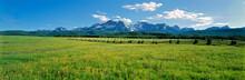 USA, Idaho, Sawtooth NRA. A Split-rail Fence Extends To The Sawtooth Range At Sawtooth NRA, Idaho.