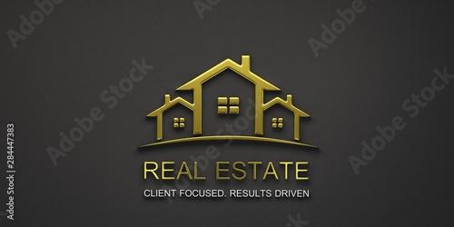 Real Estate Houses Gold Logo Design. 3D Rendering Illustration Tapéta, Fotótapéta