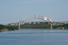 Massachusetts, Cape Cod, Atlantic Intracoastal Waterway. Cape Cod Canal, Artificial Waterway Connecting Cape Cod Bay In The North To Buzzards Bay In The South. Sagamore Bridge.