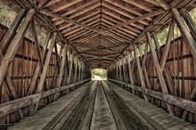 Interior Of Covered Bridge, Indiana, USA