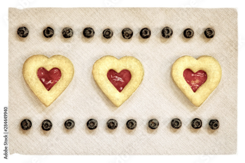 USA, Maryland, Bethesda, Hearts and Blueberries in a Row Digitally Altered