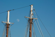 Maine, Bar Harbor. Tourist Sightseeing Boat The Margaret Todd, 151-foot Four-masted Schooner. Detail Of Masts With Moon.