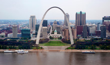 The Gateway Arch And Downtown St. Louis, Missouri, Mississippi River