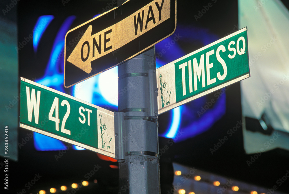 Fototapety, obrazy: Street Sign at Times Square, Manhattan, New York, USA.