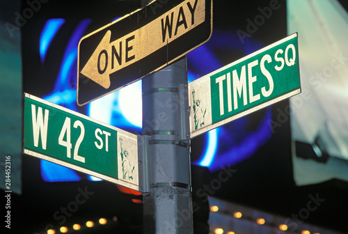 Street Sign at Times Square, Manhattan, New York, USA.