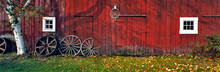 USA, New Hampshire, Franconia Notch. Autumn Color Enhances The Deep Red Siding Of An Old Barn Near Franconia Notch, New Hampshire.