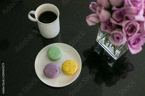 French macarons and coffee, New York City, New York, USA.
