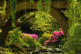 Spring color of azaleas and rhododendrons at Crystal Springs Rhododendron Garden, Portland, Oregon, USA.