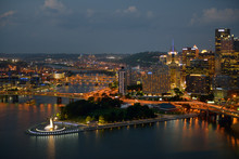 USA, Pennsylvania, Pittsburgh. Pittsburgh From The Duquesne Incline With Point State Park At Dusk