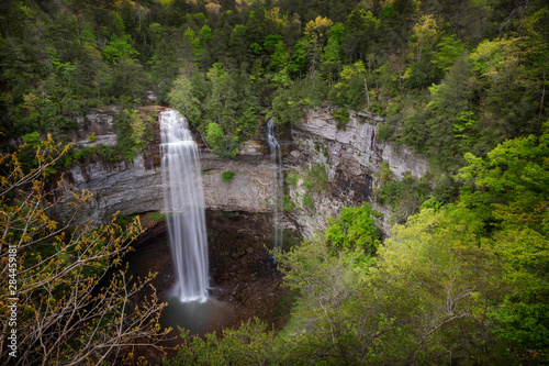 USA, Tennessee. Fall Creek Falls, a double waterfall, in Tennessee which drops 256 feet is the tallest waterfall in the eastern United States.