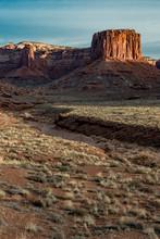 USA, Utah. The Desert Floor, A Meandering Wash And Several Mesas In Canyonlands National Park, Utah.