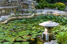 USA, Austin, Texas, Zilker Botanical Garden, Japanese Garden, And Water Lily Pond, Zilker Park.