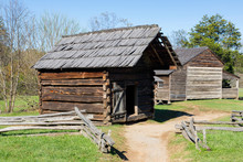 Tennessee, Great Smoky Mountains National Park, Cades Cove, Dan Lawson Place, Granary And Farmhouse, Built 1856