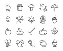 Set Of Autumn Icons, Mid Autumn
