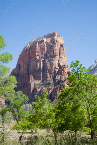 Utah, Zion National Park, Angels Landing, towers 1488 feet above the canyon floor