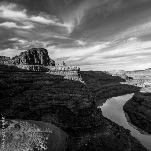 USA, Utah. Black and White image of Colorado River and canyons with clouds in Canyonlands National Park