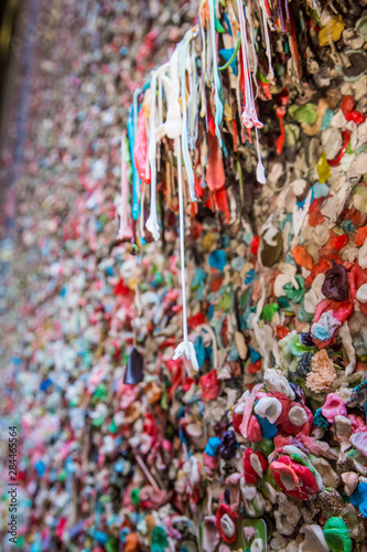 USA, Washington State, Seattle. Close-up of the famous gum wall in Post Alley, Seattle, Washington State