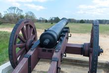 USA, Virginia, Yorktown, Cannon On Battlefield
