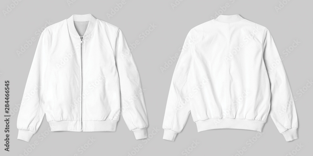 Fototapeta Blank jacket bomber white color in front and back view isolated on white background, ready for mockup template, presentation, preview your design project