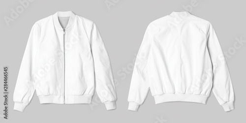 Canvastavla White jacket bomber in front and back view isolated on white background