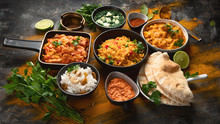 Assorted Indian Food On Black ...