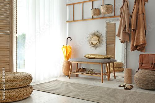 Obraz Cozy hallway interior with new stylish furniture - fototapety do salonu
