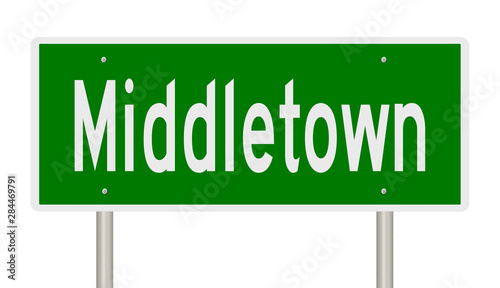 Photo  Rendering of a green highway sign for Middletown