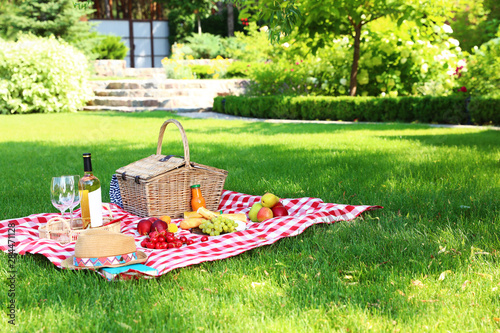 Foto op Aluminium Picknick Picnic basket with products and bottle of wine on checkered blanket in garden. Space for text