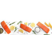 Composition With Fresh Raw Salmon Fillets On White Background, Top View