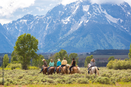 Fototapeta Horse riding, Grand Teton National Park, Wyoming, USA